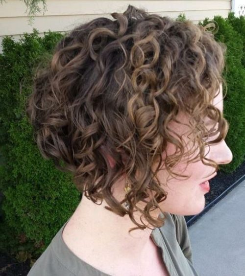 Curly inverted bob