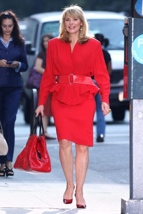 Samantha jones formal style red dress with red shoes